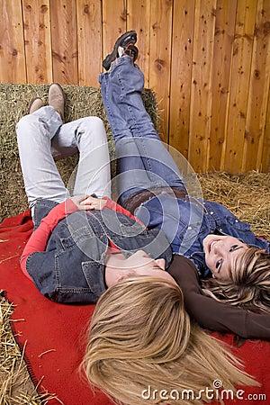 Girls on blanket angled