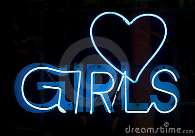 Girls in blue neon