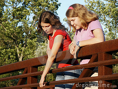Girls on bridge