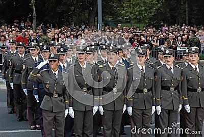 Girls cadet unit singing Serbian anthem Editorial Stock Photo