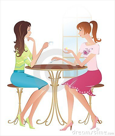 Girls at a cafe