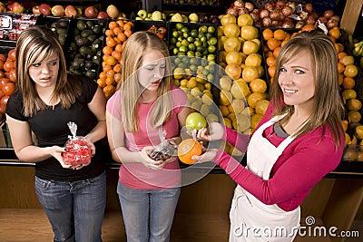 Girls candy fruit
