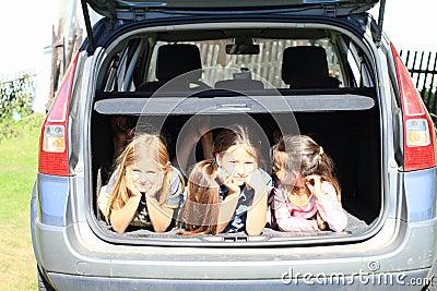 Girls in car trunk