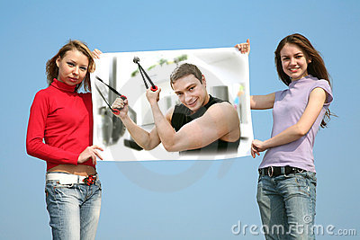 Girls with card with man, collage