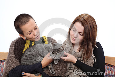 Girls and cat