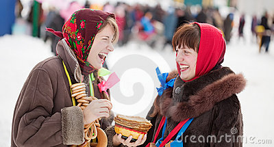Girls celebrating  Shrovetide