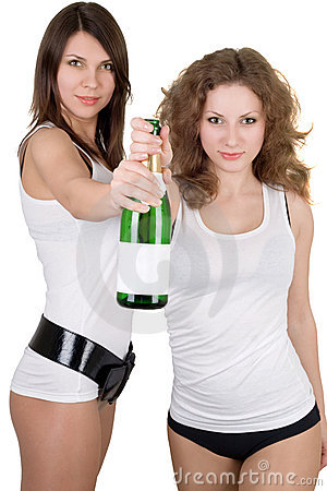 Girls with a champagne bottle
