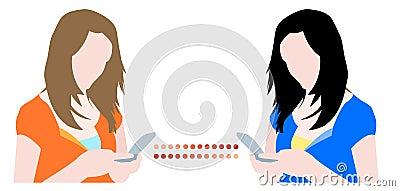 Girls chatting on mobile phones