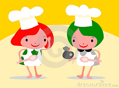 Girls Chef In An Apron And Chefs
