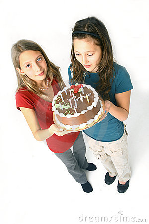 Girls and chocolate cake