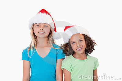 Girls with Christmas hats