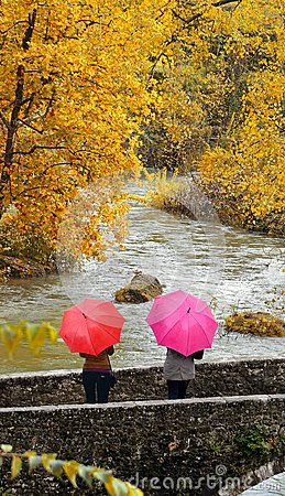 Free Girls, Colorful Umbrellas In Autumn Park. Stock Image - 103369511