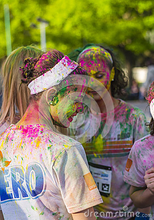 Free Girls Covered In Colored Powder Stock Image - 40157141