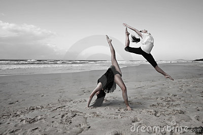 Girls Dancing On Beach Royalty Free Stock Photos Image