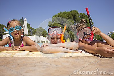 Girls with diving mask