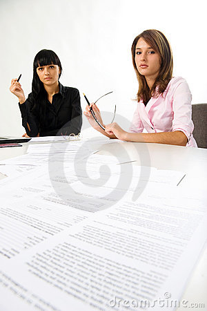 Girls with documents