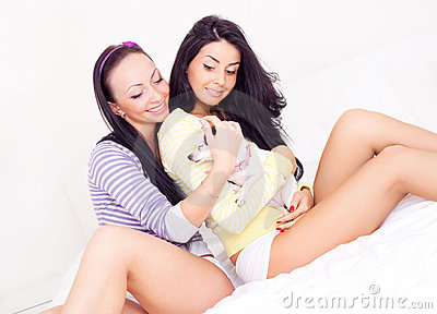 Girls with a dog