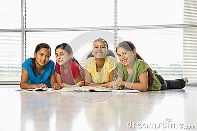 Girls doing homework.