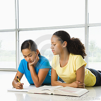 Free Girls Doing Schoolwork. Stock Photos - 3421563