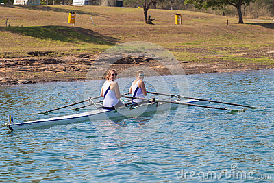Girls Doubles Rowing Regatta Start Editorial Photo