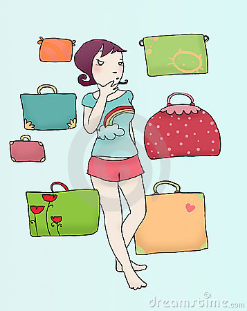 girls in doubt with luggage
