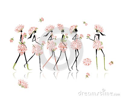 Girls dressed in floral costumes, hen party for