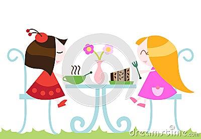 Girls eating dinner