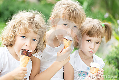 Girls eating ice-cream