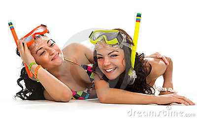 Girls is enjoying in mask with snorkel