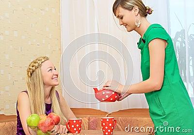 Girls Enjoying Tea
