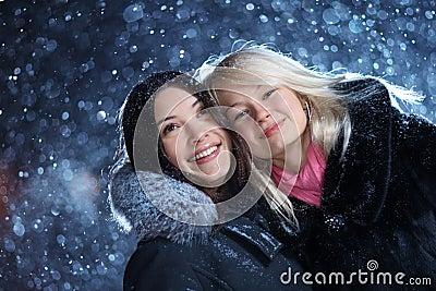 Girls enjoying winter