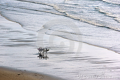 Girls entering in water