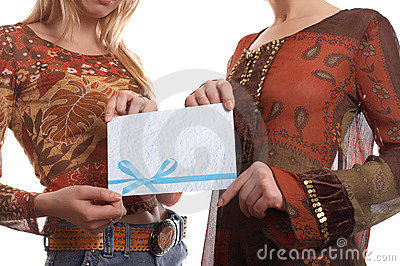 Girls with envelope