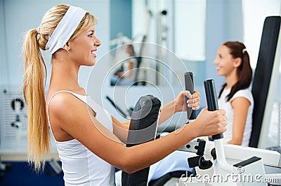Girls exercising in gym