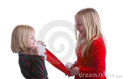 Girls Fighting Over Santa Hat