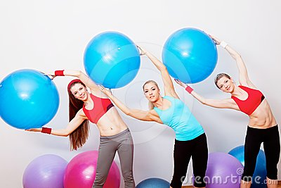 Girls on fitness training