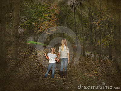 Girls on forest footpath