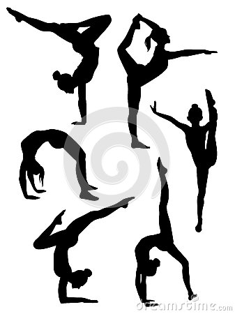 Free Girls Gymnasts Silhouettes Stock Photography - 24973702