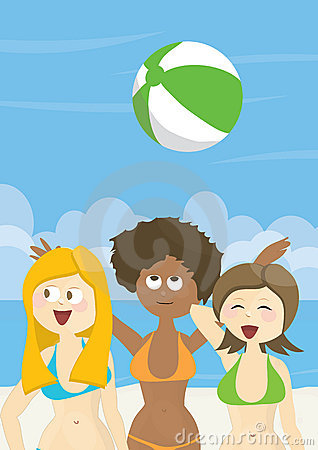 Girls having fun on a beach