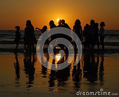 Girls having fun at Juhu beach, Mumbai