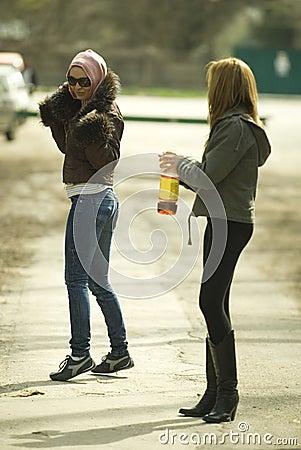 Girls having fun outdoors