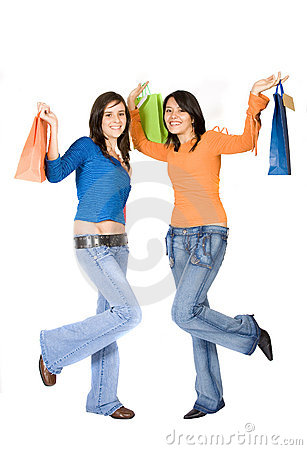 Girls having fun on a shopping day out
