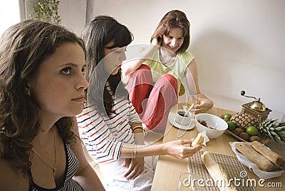 Girls having lunch