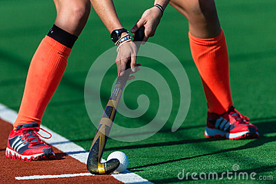 Girls Hockey Red Shoes Hands Stick Ball  Editorial Stock Image