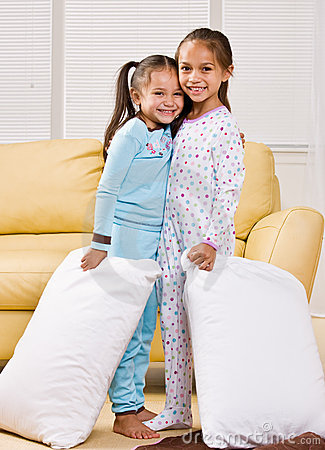 Free Girls In Pajamas In Living Room Stock Images - 7730934