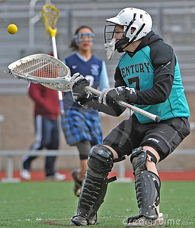 Girls Lacrosse goalie catch Editorial Stock Photo