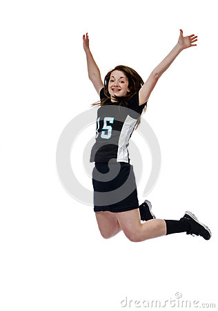 Girls Lacrosse isolated on white jumps