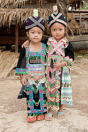 Girls Of Laos Ethnic Group Hmong Royalty Free Stock