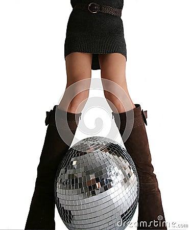 Girls legs and glitterball