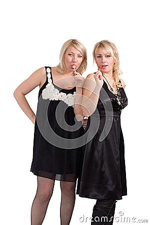 Girls with lollipop